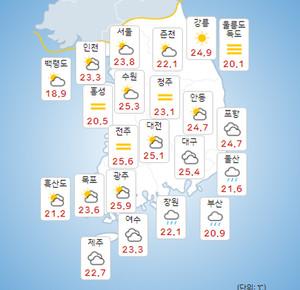 전국 지역별 오늘의 날씨 및 내일날씨,모레까지 낮기온 30도 내외, 17~18일 전국 비![종합]